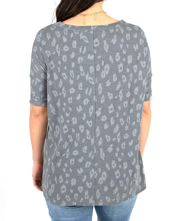 Grace & Lace Weekend Tee - Grey Cheetah