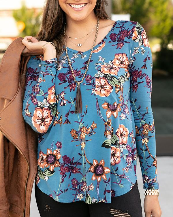 Grace & Lace Long Sleeve Perfect Pocket Tee - Dusty Blue Floral