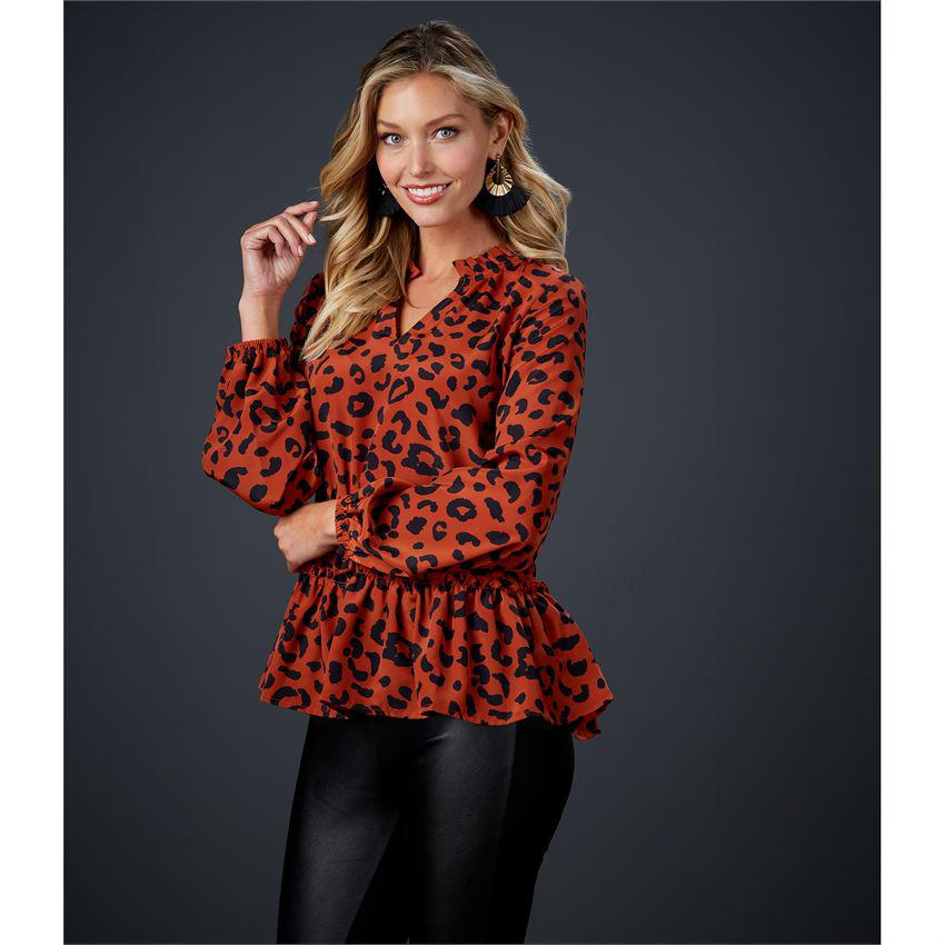 Mud Pie Livia Flounce Top - Rust Leopard