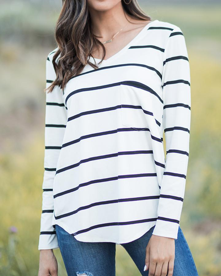 Grace & Lace Long Sleeve Perfect Pocket Tee - Ivory/Black Stripe