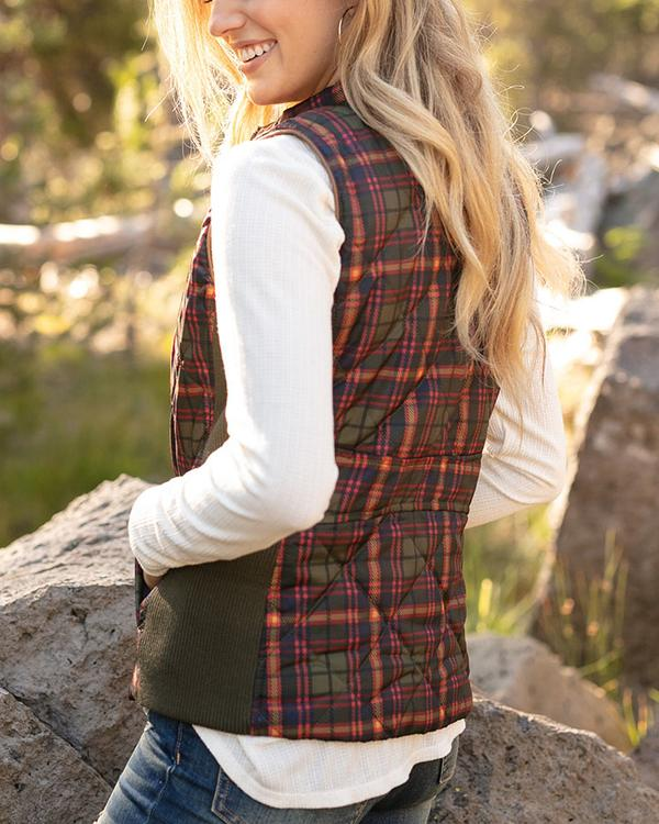 Grace & Lace Reversible Slim Fit Vest - Olive Plaid