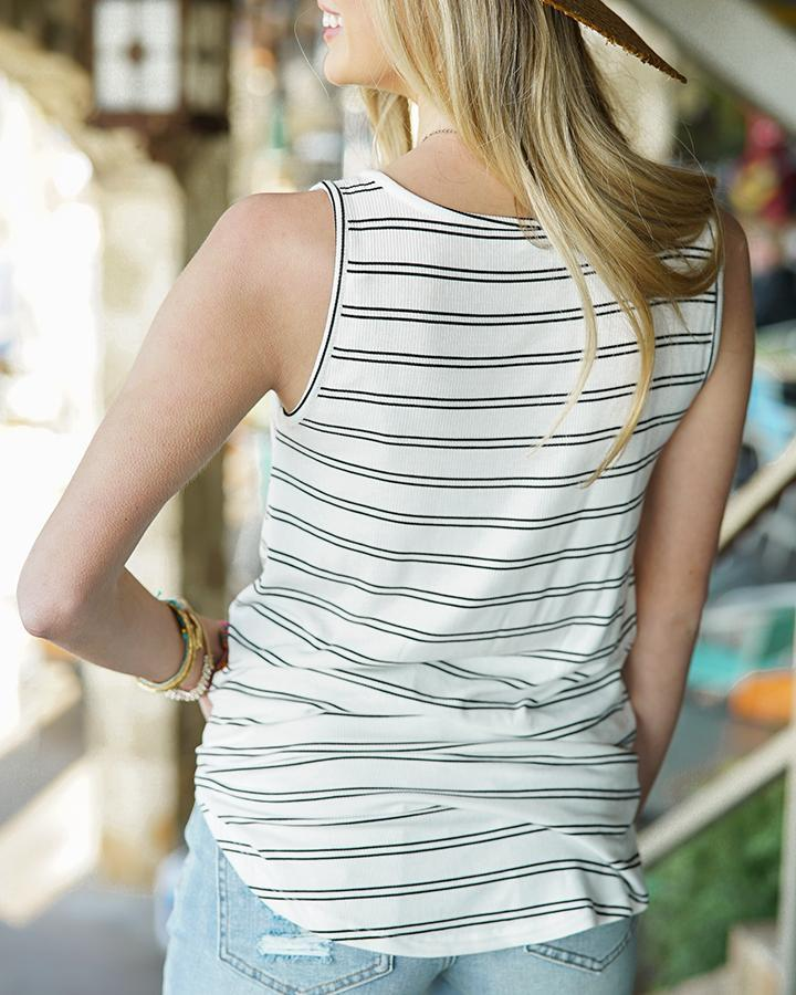 Grace & Lace Ribbed Henley Tank - Stripes