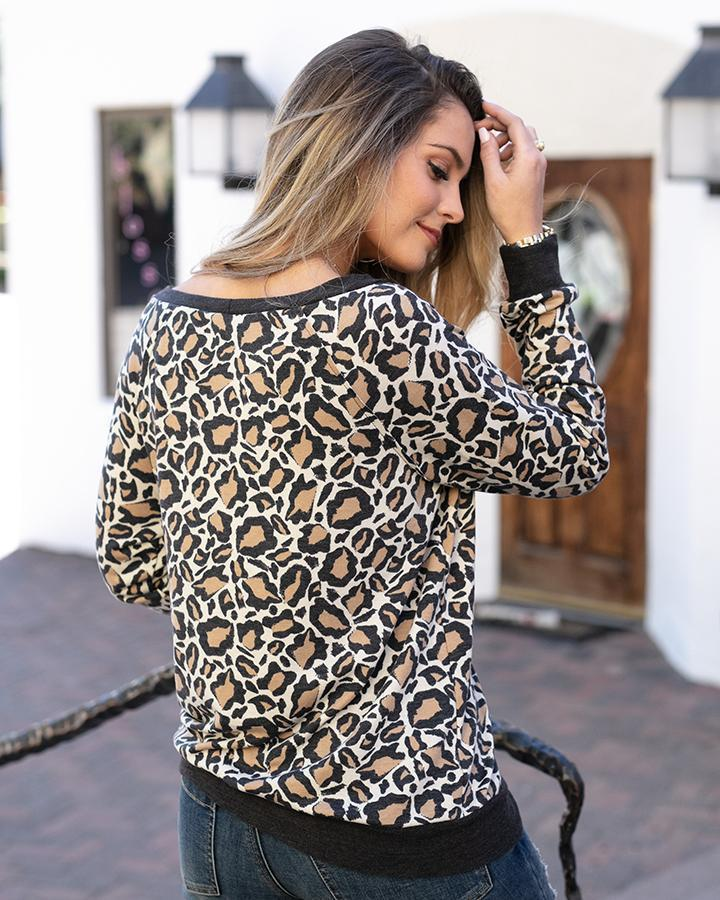Grace & Lace Slouch Pullover - Leopard