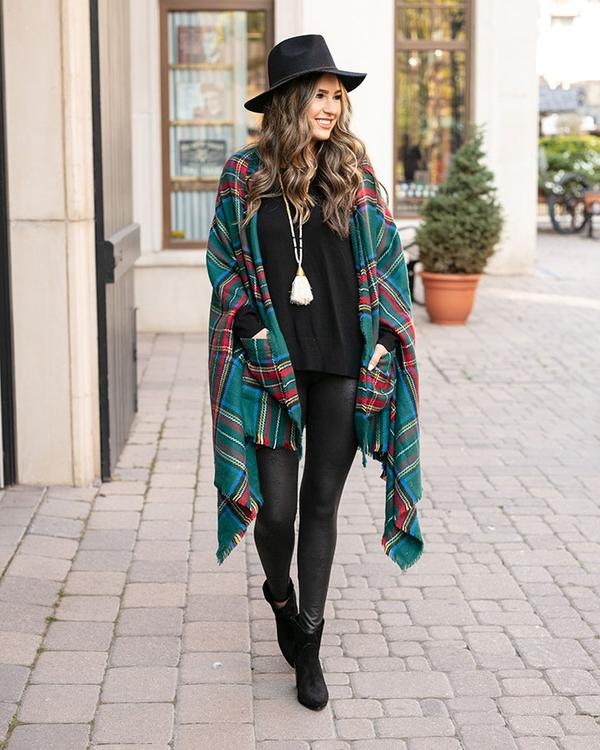 Grace & Lace Winter Weight Pocket Poncho - Andes Plaid