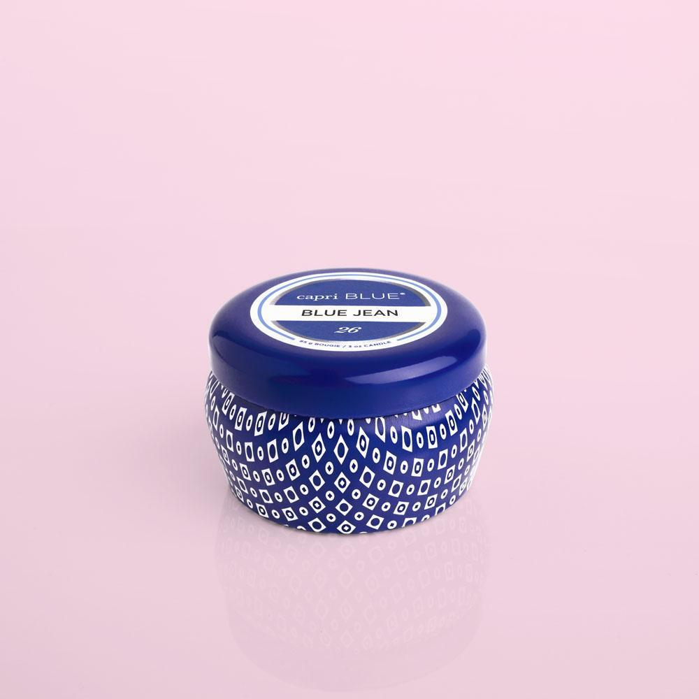Capri Blue Printed Mini Tin - Blue Jean (3 oz.)-Capri Blue-BeautyOfASite | Beauty, Fashion & Gourmet Boutique