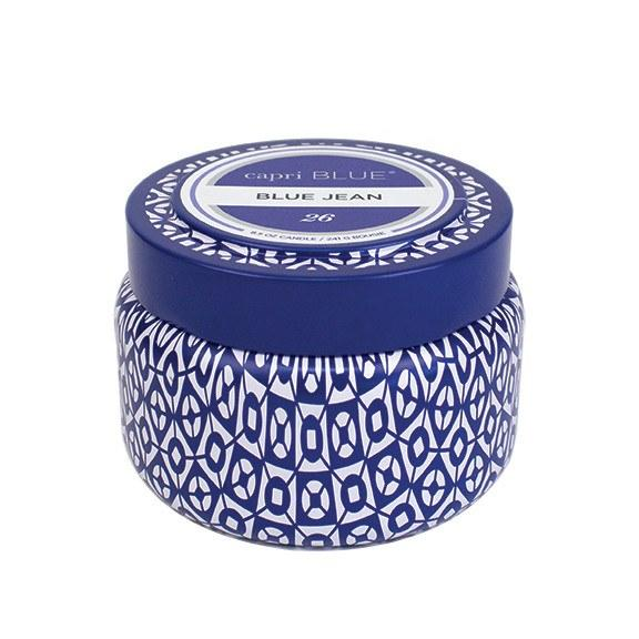 Capri Blue Printed Travel Tin - Blue Jean (8.5 oz.)-Capri Blue-BeautyOfASite | Beauty, Fashion & Gourmet Boutique