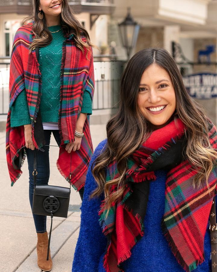 Grace & Lace Reversible Winter Weight Pocket Poncho - Red Tartan/Black