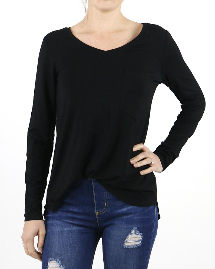Grace and Lace Long Sleeve Pocket Tee-Grace and Lace-BeautyOfASite | Beauty, Fashion & Gourmet Boutique