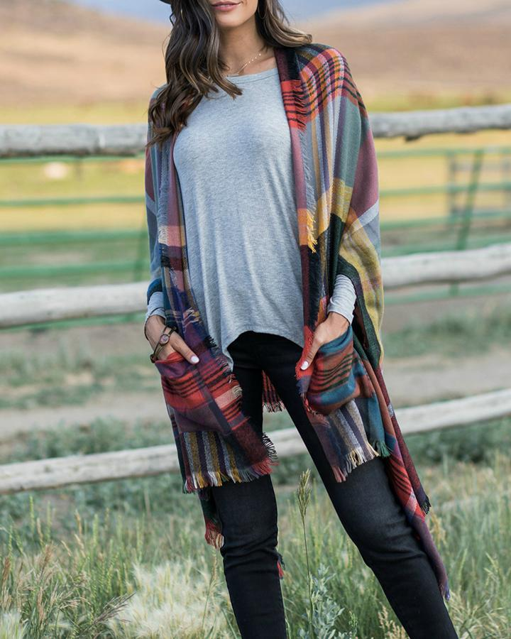 Grace & Lace Pocket Poncho - Olive Multi-Grace and Lace-BeautyOfASite | Beauty, Fashion & Gourmet Boutique