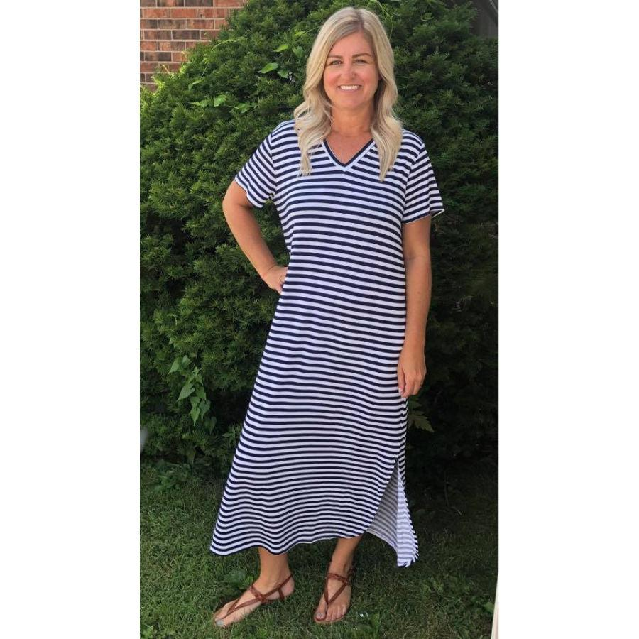 Mud Pie Jojo Jersey Midi Dress - Navy Stripe