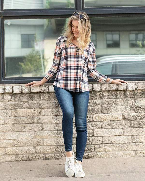 Grace & Lace Knit Plaid Button Up