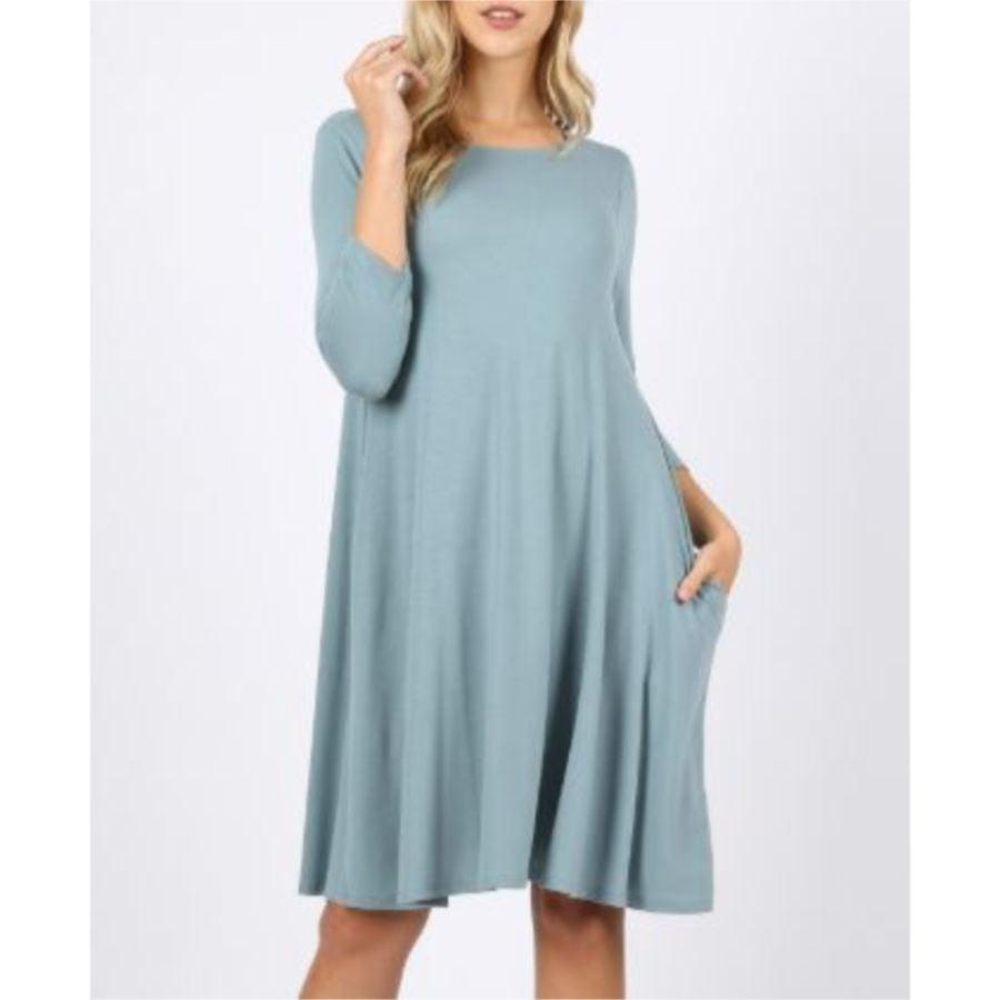Perfect Pocket Swing Dress - Light Blue