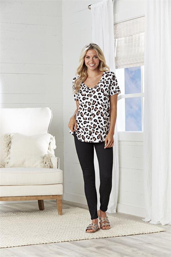 Mud Pie Carson T-Shirt - Tan Leopard