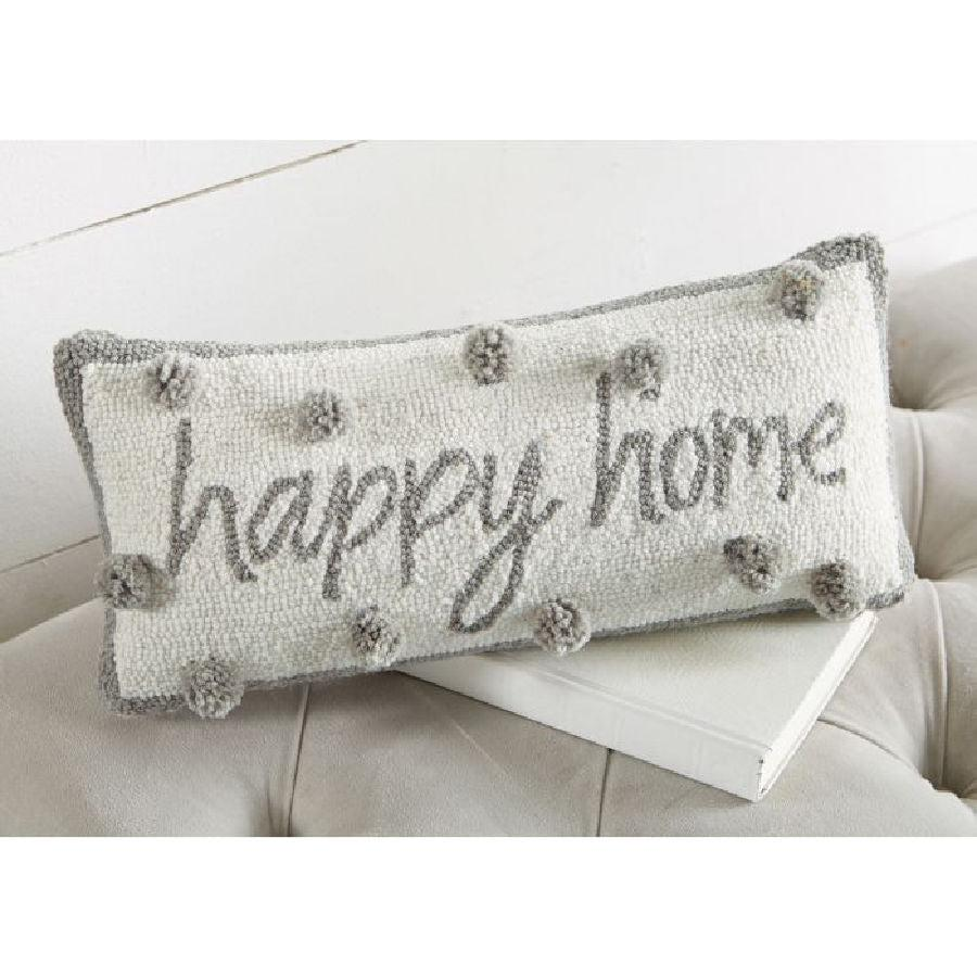 Mud Pie Happy Home Hooked Pillow
