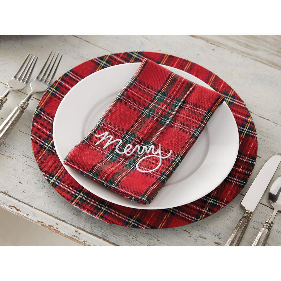 Mud Pie Tartan Christmas Napkin Set