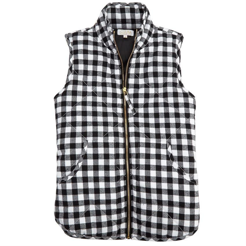 Mud Pie Brodie Quilted Vest - Black Gingham-Mud Pie-BeautyOfASite | Beauty, Fashion & Gourmet Boutique