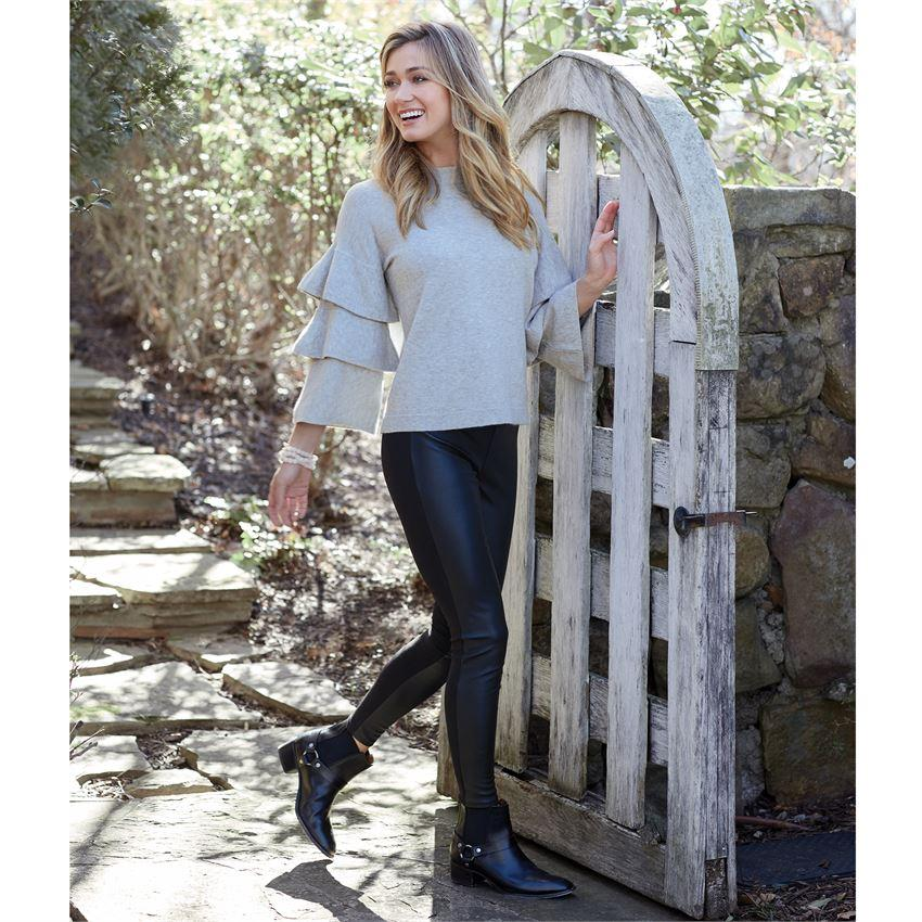 Mud Pie Dawson Ruffle Sweater - Gray-Mud Pie-BeautyOfASite | Beauty, Fashion & Gourmet Boutique