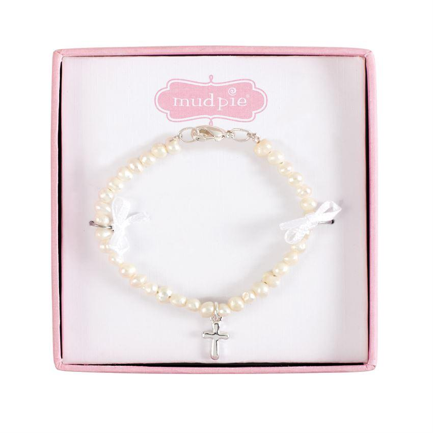 Mud Pie Fresh Water Pearl Bracelet with Cross - Child's Size-Mud Pie-BeautyOfASite | Beauty, Fashion & Gourmet Boutique