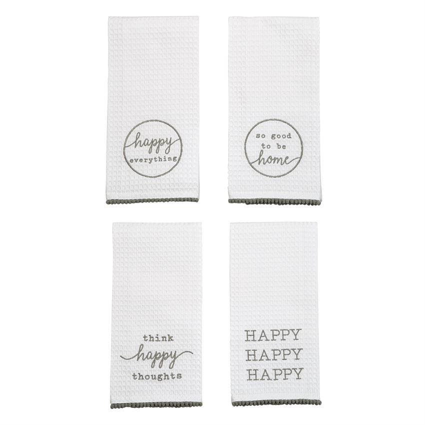 Mud Pie Happy Waffle Weave Towels-Mud Pie-BeautyOfASite | Beauty, Fashion & Gourmet Boutique