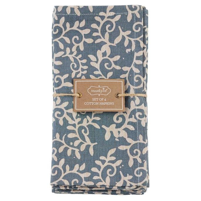 Mud Pie Leaf Printed Napkin Set-Mud Pie-BeautyOfASite | Beauty, Fashion & Gourmet Boutique