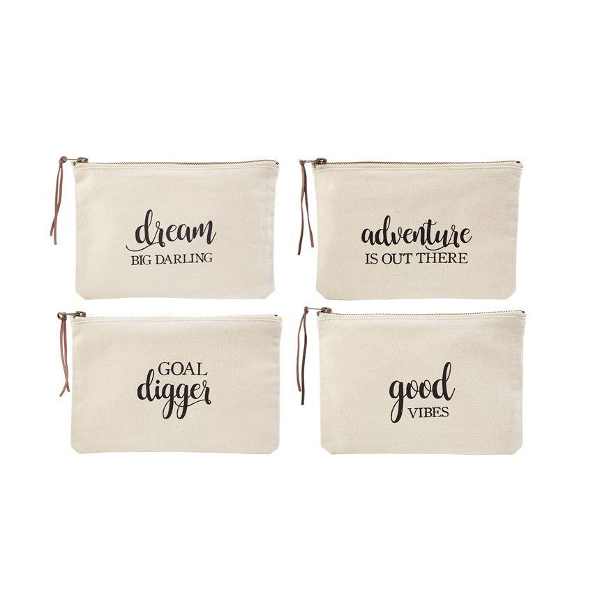 Mud Pie Medium Canvas Zip Pouch - Goals-Mud Pie-BeautyOfASite | Beauty, Fashion & Gourmet Boutique
