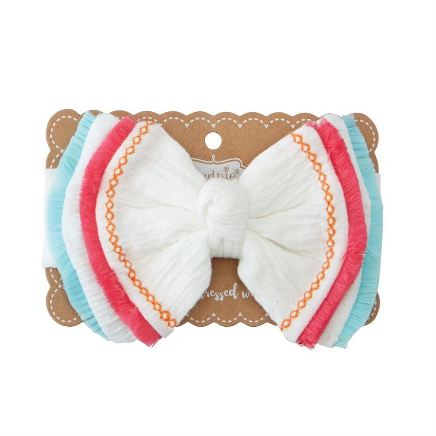 Mud Pie Neon Fringe Layered Bow Headband-Mud Pie-BeautyOfASite | Beauty, Fashion & Gourmet Boutique