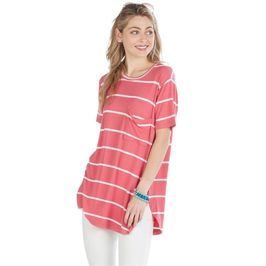 Mud Pie Rae Jersey Tee - Coral Stripe-Mud Pie-BeautyOfASite | Beauty, Fashion & Gourmet Boutique