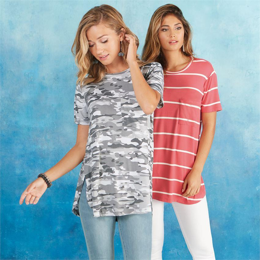 Mud Pie Rae Jersey Tee - White Camo-Mud Pie-BeautyOfASite | Beauty, Fashion & Gourmet Boutique