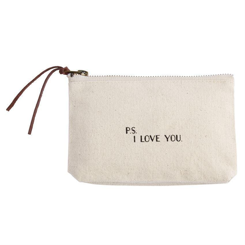 Mud Pie Small Canvas Zip Pouch - Love-Mud Pie-BeautyOfASite | Beauty, Fashion & Gourmet Boutique