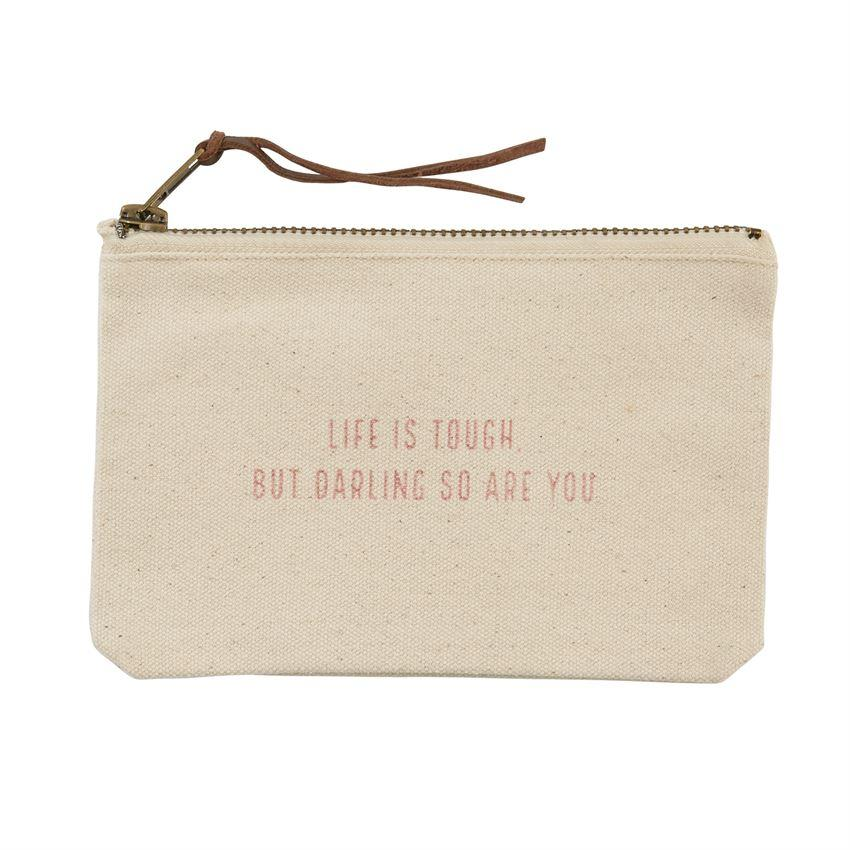 Mud Pie Small Canvas Zip Pouch - Pazitive-Mud Pie-BeautyOfASite | Beauty, Fashion & Gourmet Boutique