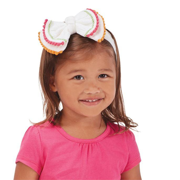 Mud Pie White Pom-Pom Bow Headband-Mud Pie-BeautyOfASite | Beauty, Fashion & Gourmet Boutique