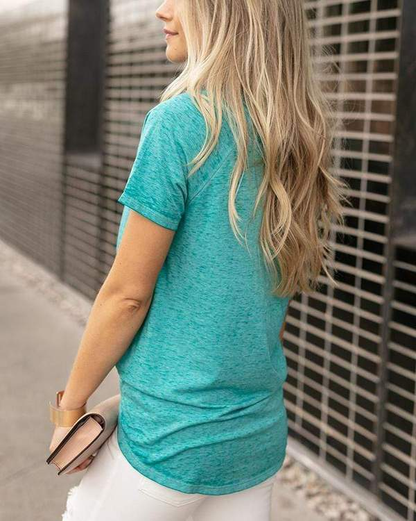 Grace & Lace Burnout Raglan Pocket Tee - Aqua
