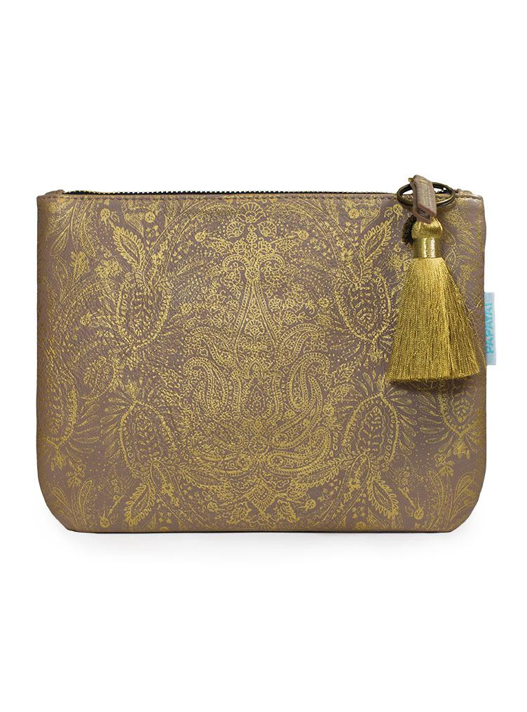 Papaya Art Paisley Gold Pocket Clutch-PAPAYA!-BeautyOfASite | Beauty, Fashion & Gourmet Boutique