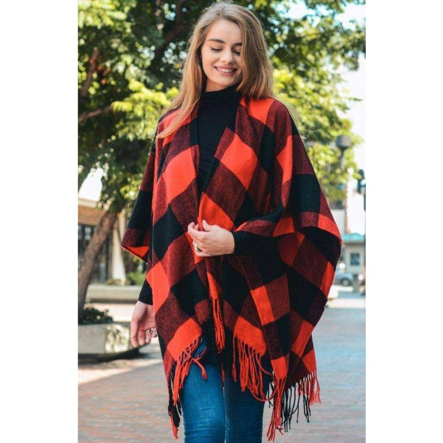Red Buffalo Check Tassel Poncho-BeautyOfASite-BeautyOfASite | Beauty, Fashion & Gourmet Boutique
