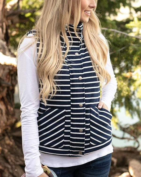Grace & Lace Knit Puffer Vest - Navy/White Strip