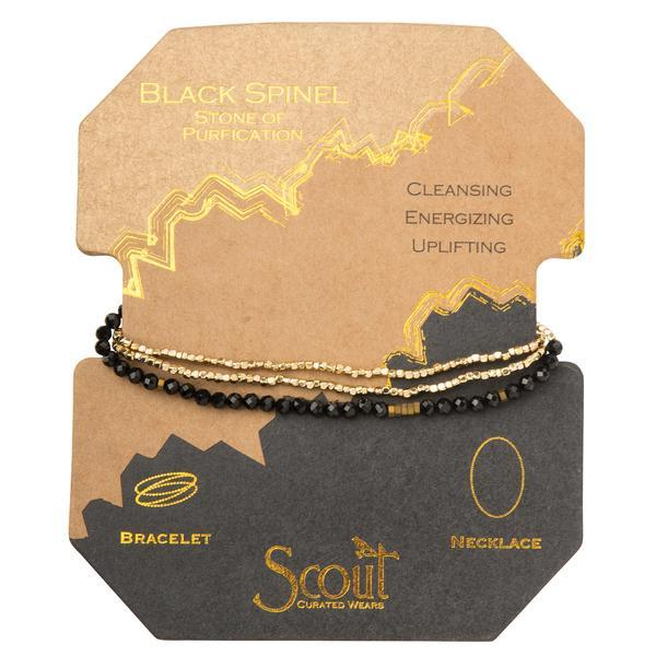 Scout Curated Wears Delicate Stone Wrap Bracelet/Necklace - Black Spinel-Scout Curated Wears-BeautyOfASite | Beauty, Fashion & Gourmet Boutique