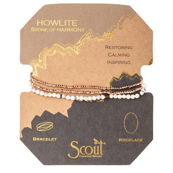 Scout Curated Wears Delicate Stone Wrap Bracelet/Necklace - Howlite-Scout Curated Wears-BeautyOfASite | Beauty, Fashion & Gourmet Boutique