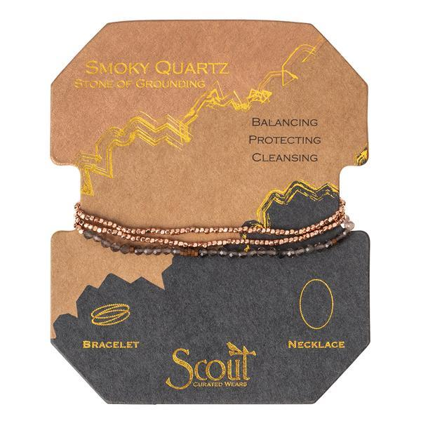 Scout Curated Wears Delicate Stone Wrap Bracelet/Necklace - Smoky Quartz-Scout Curated Wears-BeautyOfASite | Beauty, Fashion & Gourmet Boutique