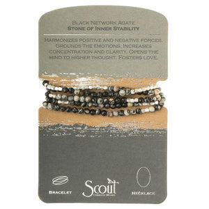 Scout Curated Wears Stone Wrap Bracelet/Necklace - Black Network Agate-Scout Curated Wears-BeautyOfASite | Beauty, Fashion & Gourmet Boutique