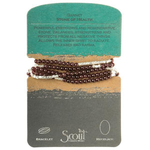 Scout Curated Wears Stone Wrap Bracelet/Necklace - Garnet-Scout Curated Wears-BeautyOfASite | Beauty, Fashion & Gourmet Boutique