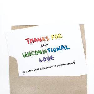Unconditional Love Queer Card for Parents Card