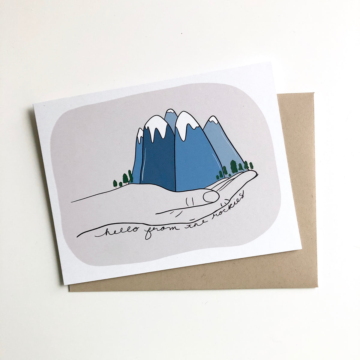Mountains in Hand Hello from the Rockies Card