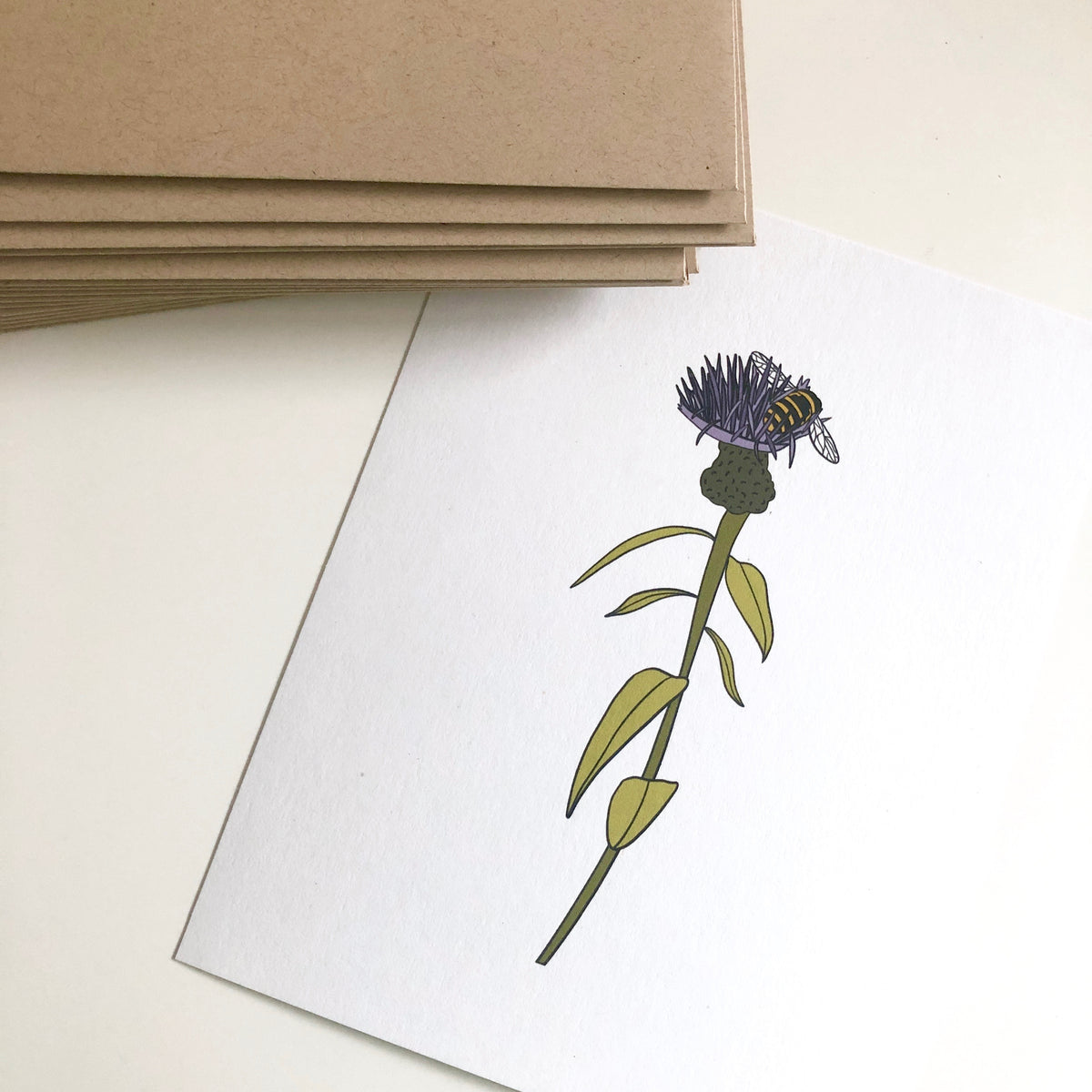 Bee On Thistle Flower Card and Print