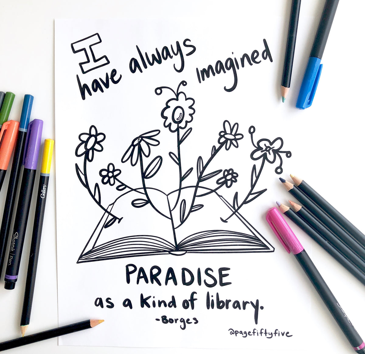 PARADISE AS A KIND OF LIBRARY COLORING PAGE