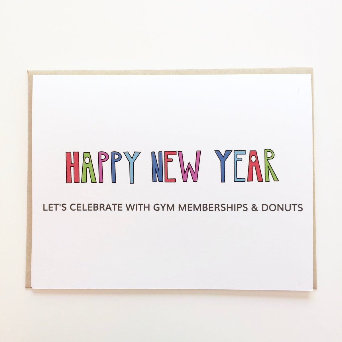 Gym memberships and Donuts New Year's Eve Card
