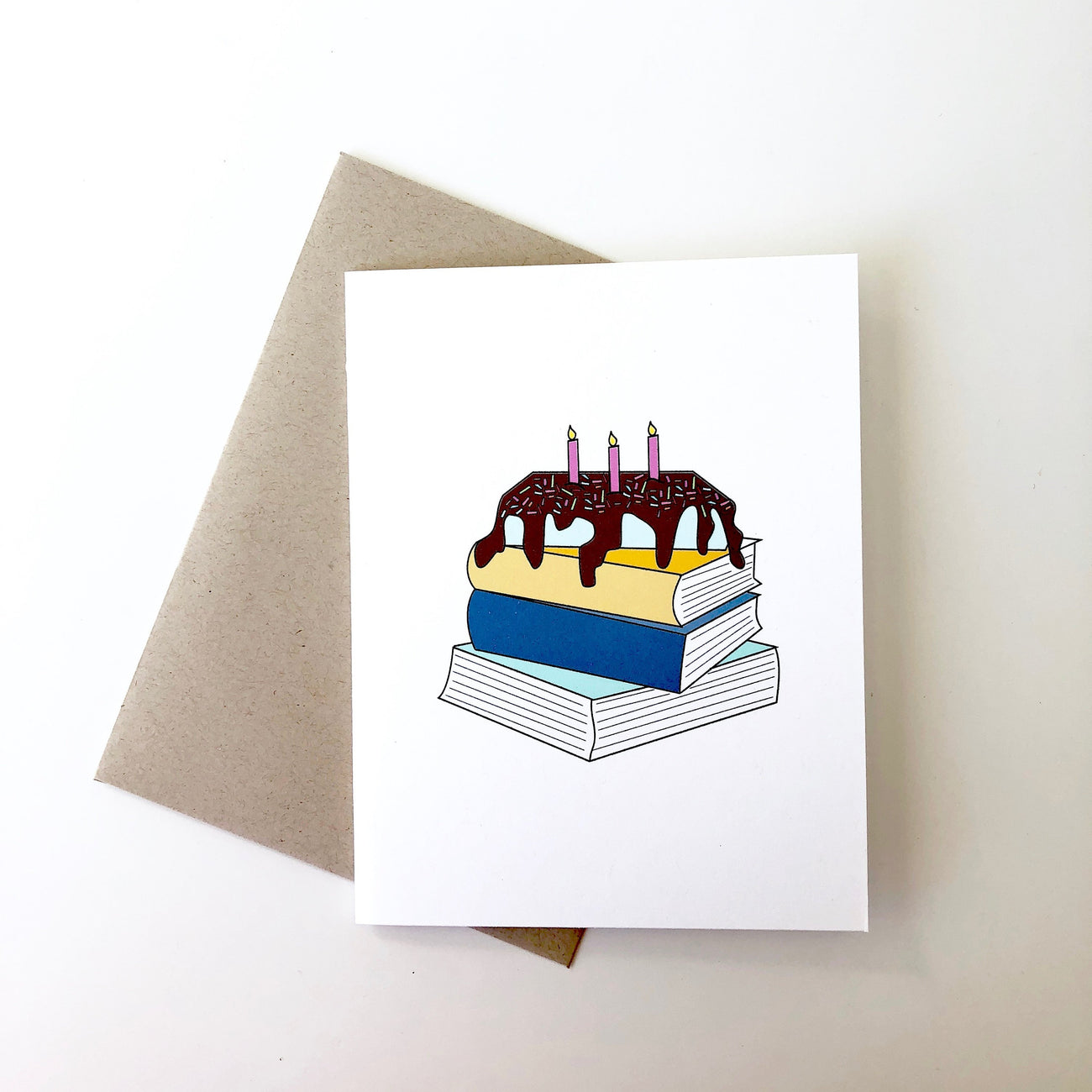Book pile birthday card