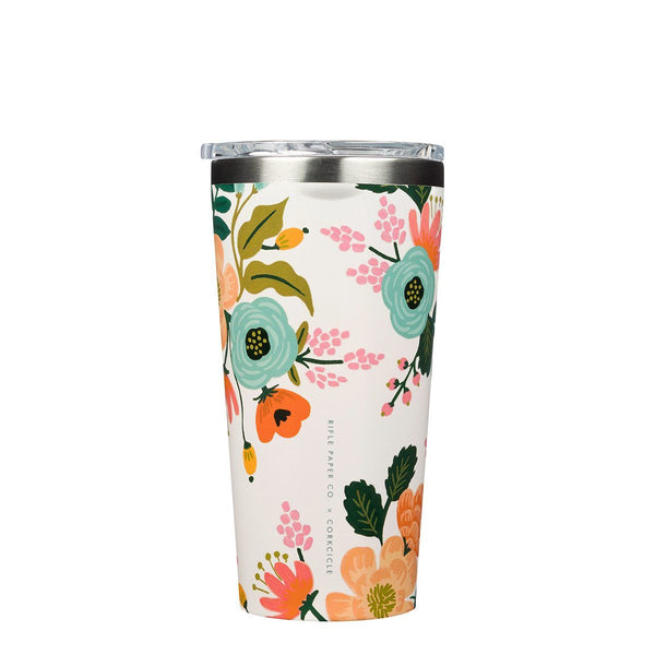 Rifle Paper Tumbler 475ml - Cream Lively Floral Insulated Stainless Steel Cup