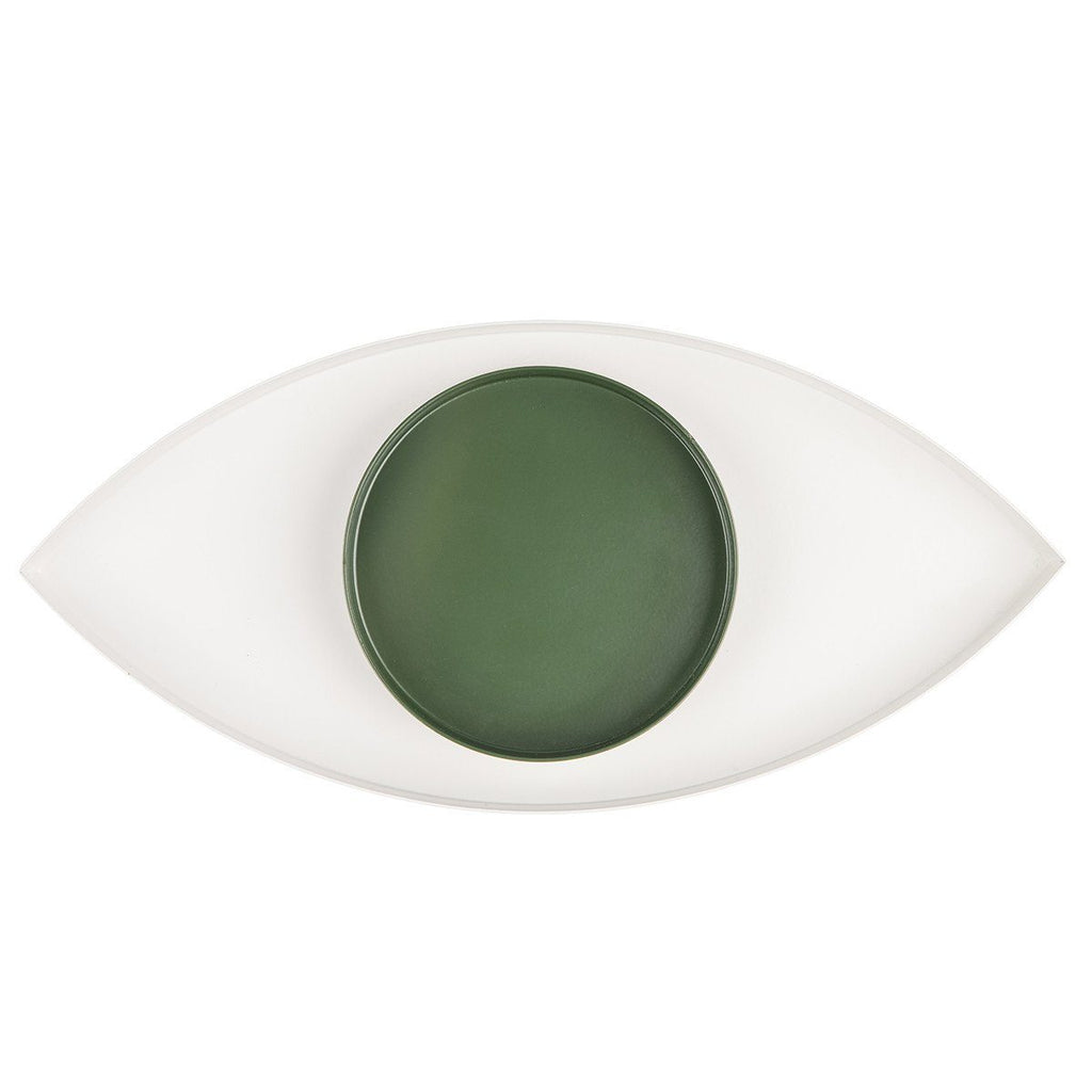The Eye White And Green Metal Tray