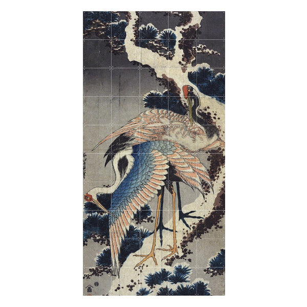 Two Cranes On A Snowy Pine Branch Wall Art