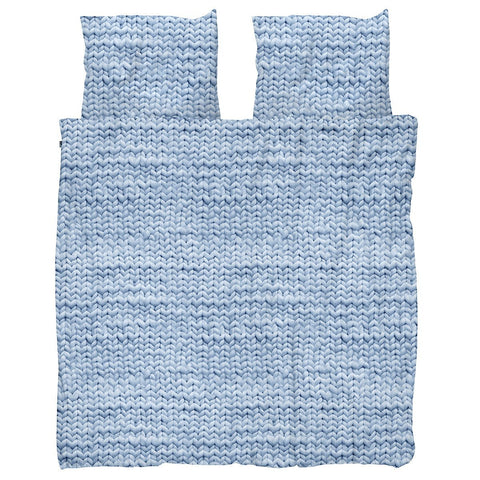 Snurk Quilt Cover Set Knit Blue